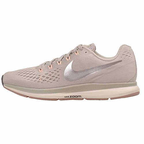 Nike Damen Air Zoom Pegasus 34 Laufschuhe Mehrfarbig (Light Bone/Chrome/Pale Grey/Sail 004) 38 EU - Nike-zoom