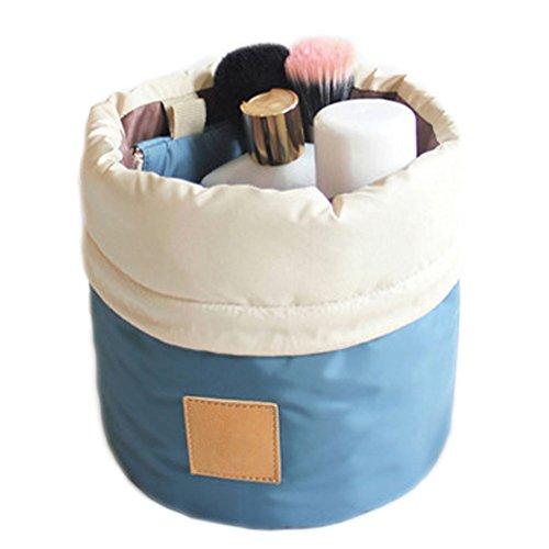 DELEY Kit De Viaje Cilíndrica Cosméticos Maquillaje Cepillo Joyería Bolsa De Almacenamiento Azul