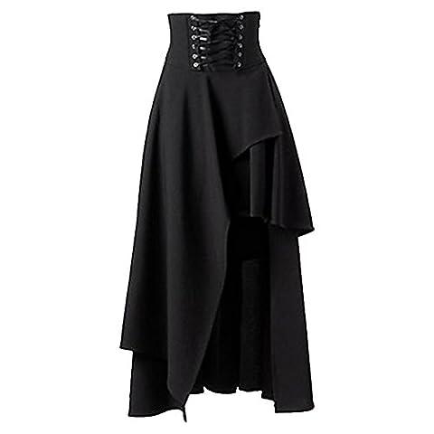 Aelegant Damen Gothic/Steampunk Stil Verband Midirock Elastische Taille mit schnürung Asymmetrisches Saum Faltenrock Rockabilly Gothic Rock (XXL/EU 42,