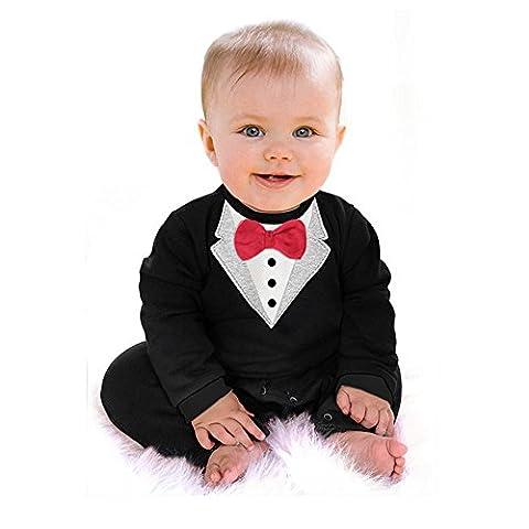 Ardisle Bébés garçons Mariage Christening Tuxedo Bow Tie Party Suit Romper Maillot de bain (3-4 Y)