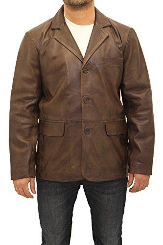 Herren Klassische elegante beilŠufige Tailored Ausgestattet mit drei Knšpfen Leder-Blazer-Jacken (Drei-knopf-blazer Klassische)