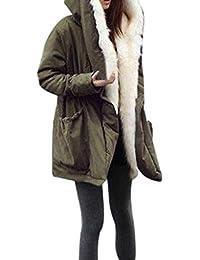 Abrigos de Mujer Invierno,Chaqueta de Mujer Invierno Casual Más Gruesa Vellocino de Piel Sintética Abrigo Chaqueta Parka…