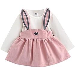 JiaMeng Ropa Ni?a de Verano Camiseta Tops de Edad Oto?o Beb¨¦ Ni?a Peque?a Conejo Lindo Traje Mini Vestido del Vendaje