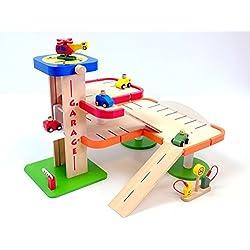 Unbekannt Parkhaus/Parkgarage/Car Service aus Holz, mit Zubehör / 50 x 39 x 36 cm / Gewicht: 3,2 kg / inkl. Aufbauanleitung / für Kinder ab 3 Jahren