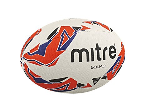 Mitre Men's Squad Match Rugby Ball - White/Red/Blue
