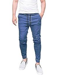 Keephen Pantalones de mezclilla para hombres, Jeans elásticos pitillo desgastados elásticos destruidos Pantalones de mezclilla…