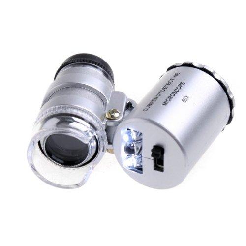 lesuzza (TM) 60x Pocket Hand Lupenleuchte Mikroskop Lupe LED-Währung UV-Lupe mit Licht NEU 2015MICROSCOPIO Vergrößerung (Home Mikroskop)