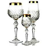 Royal tiara 18pezzi Set 'oro bordato occhiali 24% cristallo fatto a mano