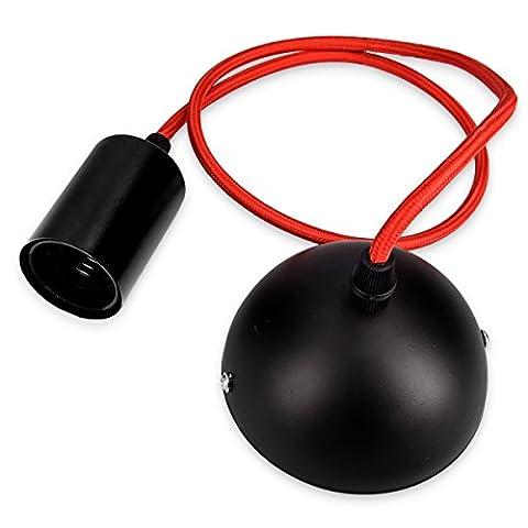 kwmobile Douille de lampe E27 de suspension métallique - avec 90 cm de câble textile - porte-lampe avec un montage au plafond - pour les ampoules à incandescence - câble rouge