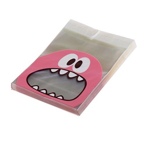 LOVIVER Süße Feinschmecker Monster Selbstklebende Cookie Candy Wrapping Geschenk Seal Bag 4 Farben - Rosa, 10 * 10 + 3cm