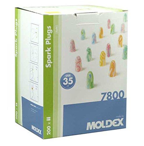 200 Paar Ohrstöpsel – Spark Plugs Soft (7800) von Moldex - Gehörschutz mit SNR 35dB - Paarweise hygienisch und praktisch verpackt