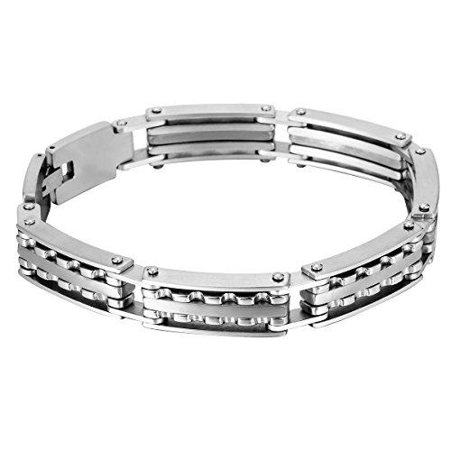 HOUSWEETY Bracelet en Acier Inoxydable Chaine de Montre ou Locomotive pour Homme et Garcon argente