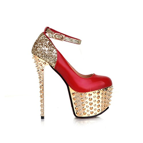 UH femmes Courroie de cheville Rivets Plateau Pumps Boucle Femme Super 16.5cm Paragraphe Chaussures de danse Noir - Rote