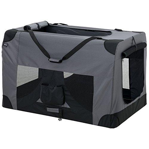 [pro.tec] Hundetransportbox (grau - faltbar) Gr. XXL