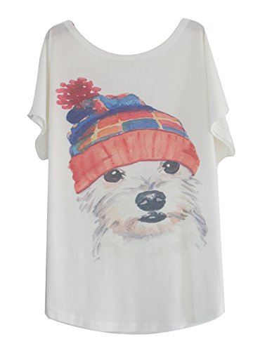 39c5641d Luna et Margarita T-Shirt Femme Blanche Manche Chauve-Souris à Motif Col  Rond