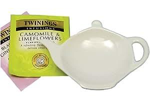 Apollo Coupelle en forme de théière pour sachets de thé Céramique Blanc