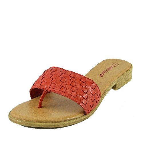 Kick Footwear - Damen Sandale mit Echt Leder Strand Flip Flops Sandalen Leder Schuhe Red F931