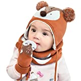DORRISO Unisex-Baby Jungen Mädchen Mütze Schal Handschuh Set Winter Herbst Beanie Strickmütze Niedlich klein Fuchs Wintermütze 1-6 Jahre alt