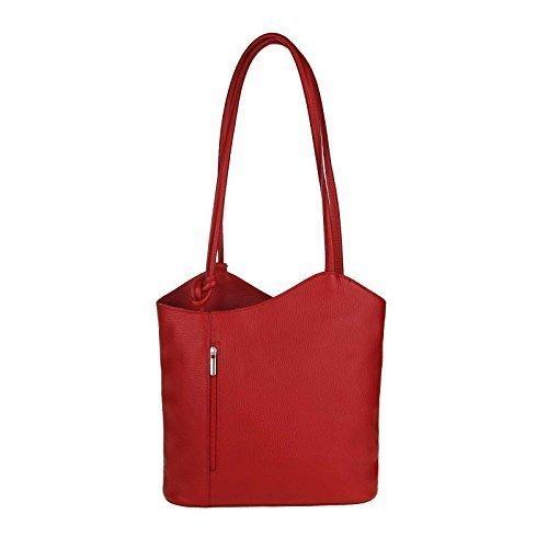 OBC Sac en cuir Bouquet Impression Croco Sac Pour Femmes 2in1 Sac à main Sac à dos Sac À Bandoulière Sac à anses Comprimé/Ipad env. 10-12 Pouces 27x29x8 cm (LxHxP) - Noir (Cuir verni), 27x29x8 cm (BxH rouge