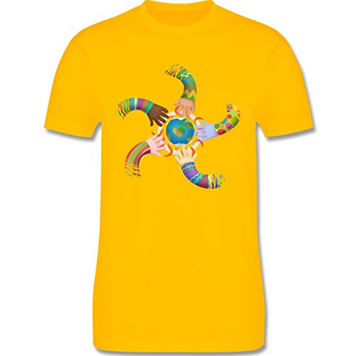 Statement Shirts - One world, one sun, hand in hand - Peace - Herren Premium T-Shirt Gelb