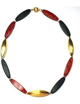Deutschlandkette - Merkelkette - schwarz rot gold mit Oktaederspacern Sterlingsilber vergoldet 925/-- Onyx Koralle...