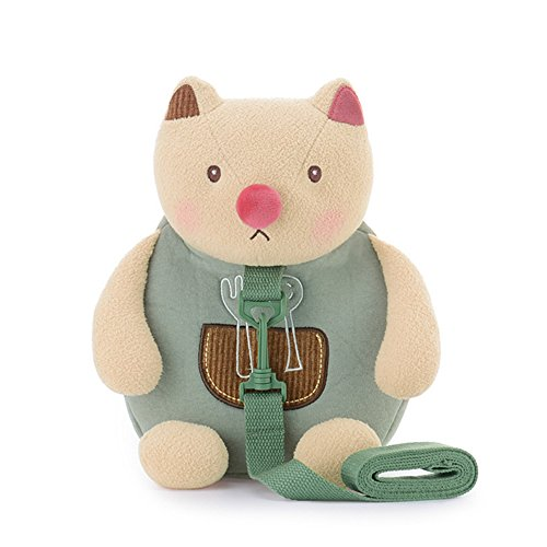 Kid's Backpack Toddler Bag Child Leash - Cartoon Cat Baby Leashes Shoulder Bags With Anti-lost Toddler Safety Harnesses Beige