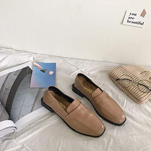 HRCxue Pumps Einfache quadratische Flache College-Schuhe im britischen Stil sowie Schuhe aus Samtfrauen, Aprikose, 35