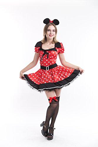 Charm Rainbow Maus Kostüm Mädchen Süße Damen Kleider Set inkl. Kleid und Ohren Mouse Theme Party Cartoon Cosplay Set 4 Größe (S - - Graue Maus Kostüm Für Erwachsene