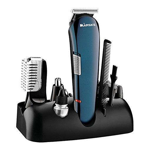 Juego de cortadoras de cabello inalámbricas profesionales 5 en 1, afeitadora eléctrica multifuncional Recortadora de cabello Bodygroomer Kit de cortadoras de nariz y orejas a prueba de agua(EU)