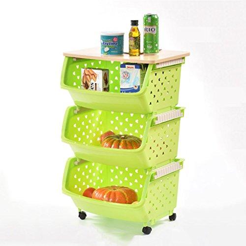 Étagère de rangement + Rack de rangement en bois peut être placé Rack de stockage de légumes Pots A à double usage (Couleur : Vert, taille : B paragraph-3 layers)