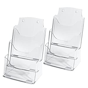 SIGEL LH130 Table-Top Literature Holder, for A4, with 3 compartments, acrylic, clear, 2 pcs.