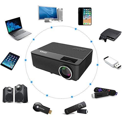 YABER Proyector Soporta Full HD 1080P 4500 Lúmenes Proyector Cine en Casa con Dos Altavoces Estéreo Alta Fidelidad y Sistema de Refrigeración de Tres Ventiladores, con 200' Pantalla, 55000 Horas