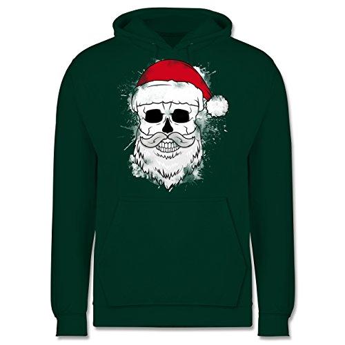 Weihnachten & Silvester - Totenkopf mit Weihnachtsmütze und Bart - Männer Premium Kapuzenpullover / Hoodie Dunkelgrün