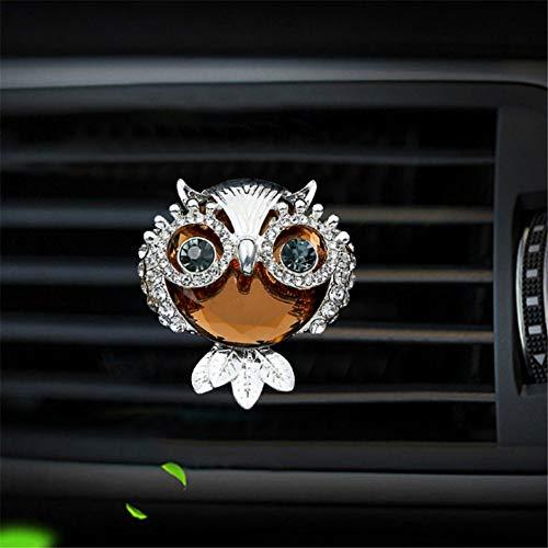 SIOJB Carino Stile Gufo Diamante Auto Deodorante diffusore di Profumo Interno Auto condizionatore d'Aria Presa di sfiato Clip di Profumo Styling Auto, Argento
