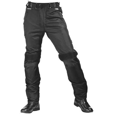 Roleff Pantalón para Motorista de Tela Racewear, Negro, KM