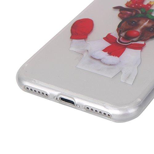 Weihnachten Hülle für iPhone 7/8 Silikon, Weihnachts Muster Tasche Gemalt-Design, Moon mood® Weihnachten Dekoration Hülle für Apple iPhone 7/8 Ultra Dünn Weiche Transparent TPU Silikon Christmas Cover Weihnachts hund