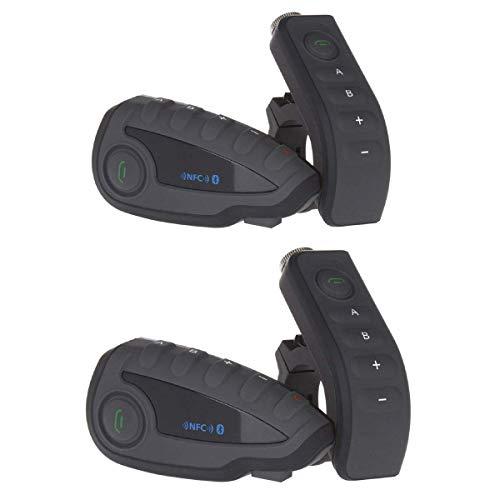 LNLJ Motorrad-Helm Walkie-Talkie Waterproof Bluetooth Intercom-Headset kann simultan Fünf-Personen-Full-Duplex-Intercom Mit NFC, FM Radio Funktion Black,2Pack
