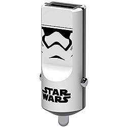 Tribe Star Wars 2.4 A Caricabatteria da Auto Fast Charge I Caricatore USB Universale per iPhone, iPad, Smartphone Samsung Galaxy, Huawei, LG, Nexus - Stormtrooper