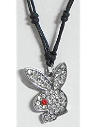 DollsofIndia Stone Studded Rabbit Face Pendant With Black Cord And Earrings - Metal (EK69-mod) - White