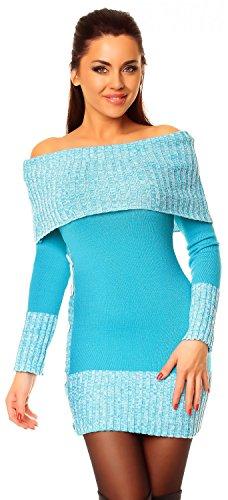Zeta Ville - Damen Pullover aus Grobstrick Carmen-Ausschnitt Strick-kleid - 913z (Türkis, 38/42)
