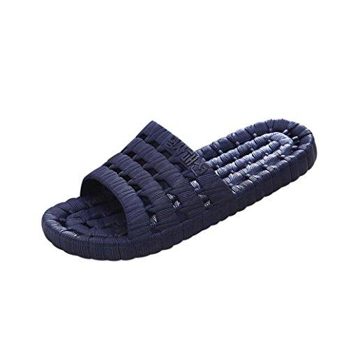 QinMM Homme Femme Tongs Pantoufle Couleur de Bonbon Confortable Mode Été, Décontractée Sandales Antidérapant Massage Chaussons Flip-Flops Bleu profond