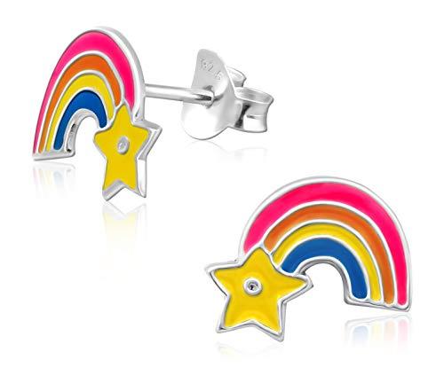 Laimons Kids Orecchini a pressione per bambini gioielli per bambini Arcobaleno colorato Argento Sterling 925