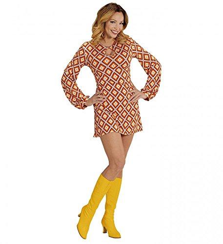 Mode Jahre Kostüm Siebziger - shoperama 70er Jahre Retro-Kleid mit Rhombus-Muster Orange Disco Damen-Kostüm Siebziger, Größe:S