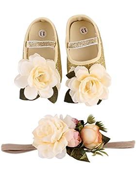 Janly Schuhe jany 0-18 Monate Mädchen Blumen Krippe Schuhe Sneaker mit Stirnband Baby Pailletten First Walker