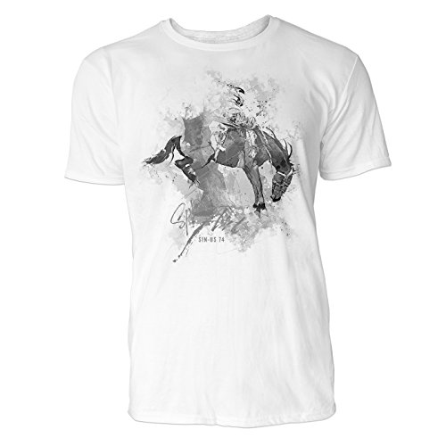 Pferdesport Sinus Art ® Herren T Shirt ( Schwarz Weiss ) Sportshirt Baumwolle