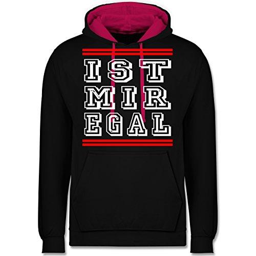 Statement Shirts - IST MIR EGAL - Kontrast Hoodie Schwarz/Fuchsia