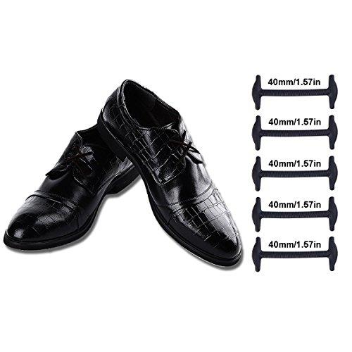 Coolnice Lacci Elastici No Tie Lacci per Scarpe Adulti Donna Uomo Pizzo Elastico Impermeabile Pratica in Silicio per Scarpe in pelle Sportive Sneaker Boots Scarpe Stile Commerciale Formale-Nero-40mm