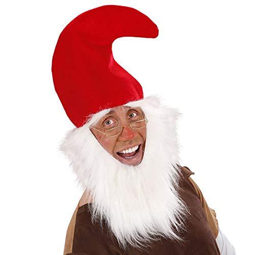 Zwerg Rote Kostüm - Widmann 3061D - Zwergen - Mütze rot, mit Bart und Augenbrauen