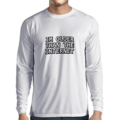 Maglietta a manica lunga da uomo Sono più vecchio di internet divertente idea regalo di compleanno Bianco Nero