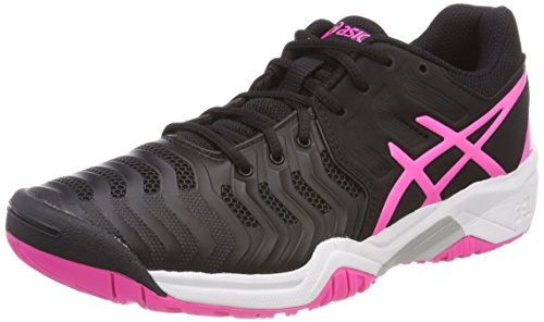 Asics Gel-Resolution 7 GS, Zapatillas de Tenis Unisex Niños, Negro (Black/Hot Pink/Silver 9020), 39 EU